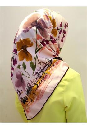 Gülsoy Pembe Çiçek Desenli Rayon Eşarp