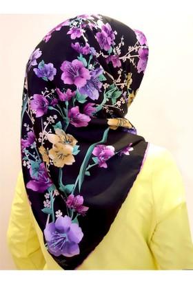 Gülsoy Çiçek Desenli Siyah Rayon Eşarp
