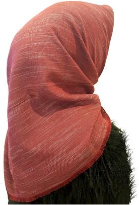 Gülsoy Kırmızı Çizgili Eşarp İpi Boyalı Viskon