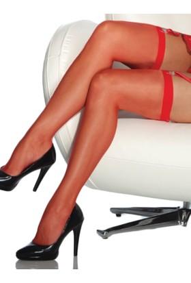 Mite Love Düz Jartiyer Çorabı Kırmızı Fantazi Giyim ML1779