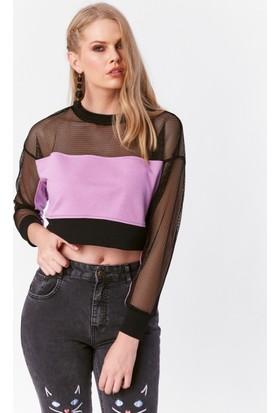Eka Fileli Kısa Sweatshirt