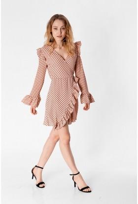 Eka Kruvaze Puantiyeli Şort Elbise