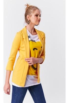 Eka Cepli Düğmesiz Blazer Ceket