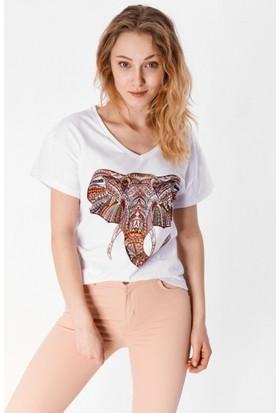 Eka Fil Baskılı Taşlı T-Shirt
