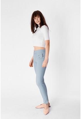 Eka Önü Fermuarlı Yüksek Bel Likralı Jean