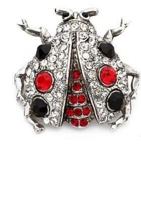 Modex Kırmızı Siyah Taşlı Uğur Böceği Broş Ub9855
