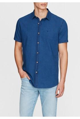 Mavi Kısa Kollu İndigo Gömlek