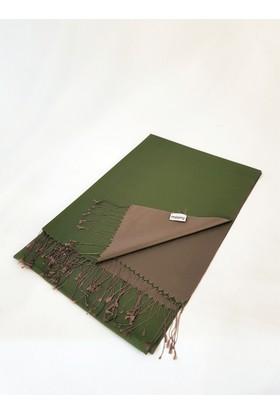 Misiny Saf İpek Şal - Yeşil / İvory