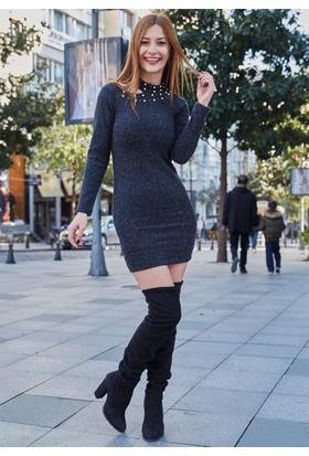 Femme Yakası İncili Elbise