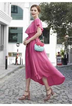 Femme Volanlı Viskon Elbise