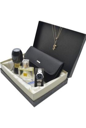 Casio Kadın Kol Saati - Deri Cüzdan - Avon Parfüm - Kelebek Kolye Kls-02