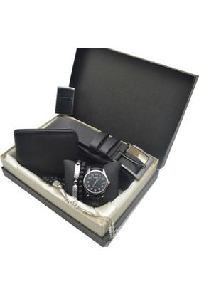 Casio Erkek Kol Saati Seti - Cüzdan Ve Kemer - Tesbih - 2 Bileklik - Çakmak Ecs-72