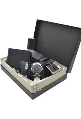 Casio Erkek Kol Saati Seti - Cüzdan Ve Kemer - Tesbih - 2 Bileklik - Çakmak Ecs-73