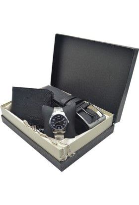 Casio Erkek Kol Saati Seti - Tesbih - Cüzdan Ve Kemer Ecs-42