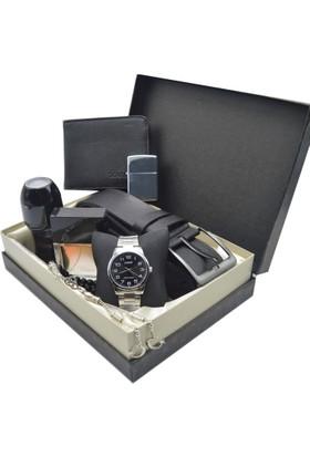Casio Kol Saati Seti Lüx - Parfüm - Kemer - Cüzdan - Tesbih - Çakmak Ecps-71