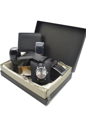 Casio Kol Saati Seti Lüx - Parfüm - Kemer - Cüzdan - Tesbih - Çakmak Ecps-72