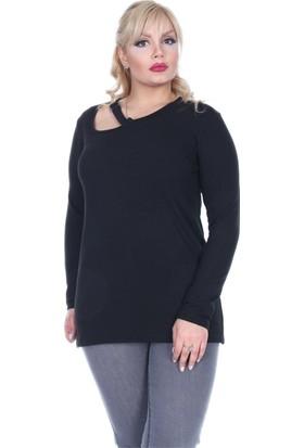 RMG Yaka Detaylı Bluz Siyah