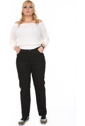 RMG Beli Lastikli Büyük Beden Pamuk Pantolon Siyah
