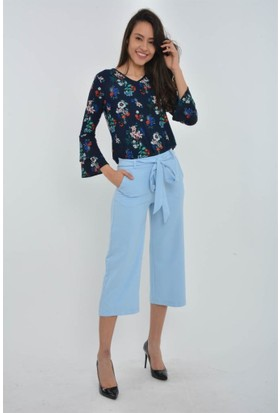 Rodin Hills Mavi Bel Lastik Şalvar Kısa Kumaş Pantolon