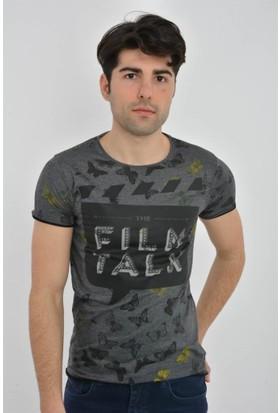 Rodin Hills Antrasit Empirme Film Talk Baskılı Tshirt 4406