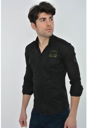 Rodin Hills Siyah Armalı Çift Cep Kapaklı Gömlek G24