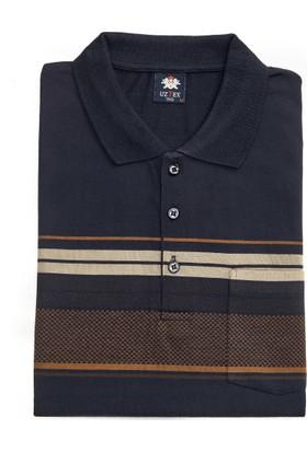 Uztex 271 Süprem Çizgili Pano Jakar Klasik Fit Cepli Kısa Kol Lacivert Polo T-Shirt