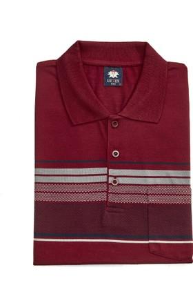Uztex 271 Süprem Çizgili Pano Jakar Klasik Fit Cepli Kısa Kol Bordo Polo T-Shirt