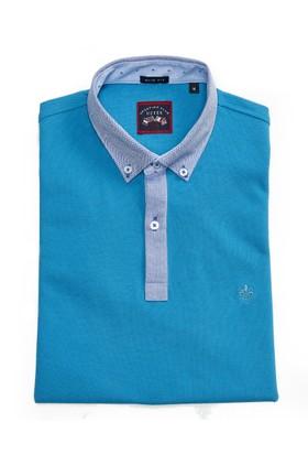 Uztex 305 Pike Slim Fit Oxford Gömlek Yaka Kısa Kol Turkuaz Polo T-Shirt