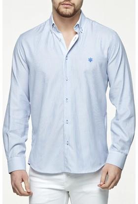 Uztex 1905 Bonucci Çizgili Armür Slim Fit Düğme Yaka Uzun Kol Mavi Gömlek