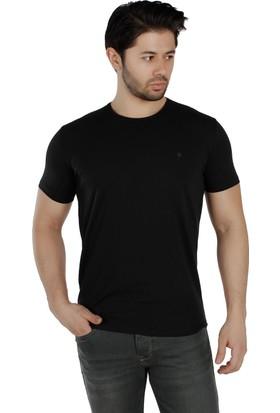 Brango 40155-1 Bisiklet Yaka Düz Siyah T-Shirt