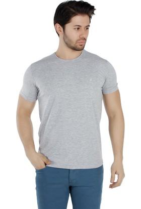 Brango 40155-2 Bisiklet Yaka Düz Gri T-Shirt