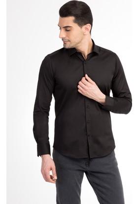 Kiğılı Uzun Kol Saten Slim Fit Gömlek