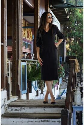 Stil Town Kolları Büzgülü Elbise