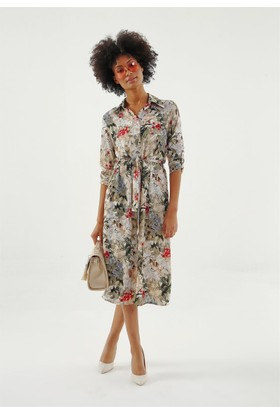 Jument 6190 Krem Desen Elbise
