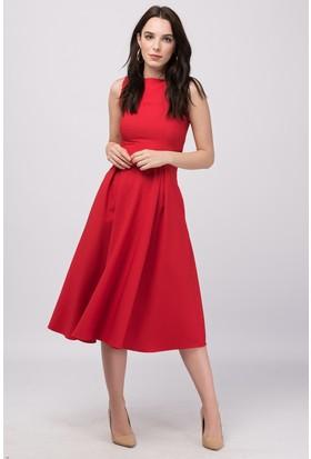 Buklemoda Kırmızı Midiboy Atlas Elbise
