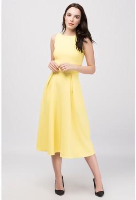 Buklemoda Sarı Midiboy Atlas Elbise