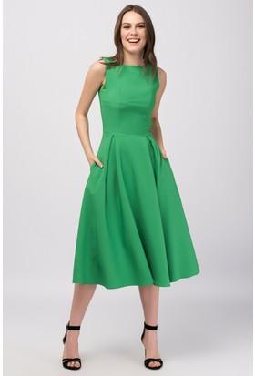 Buklemoda Yeşil Midiboy Atlas Elbise
