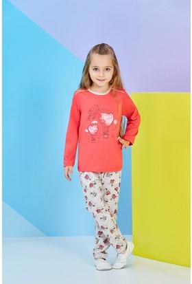 RolyPoly Uzun Kollu Genç Kız Pijama Takımı Nar