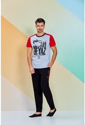 Beşiktaş Lisanslı Erkek Pijama Takımı Antrasit
