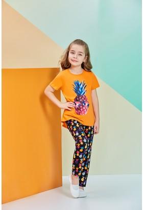 RolyPoly Kısa Kollu Kız Çocuk Pijama Takımı Oranj