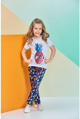 RolyPoly Kısa Kollu Kız Çocuk Pijama Takımı Gri