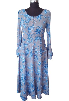 Kontes Mavi Desenli Yaka Aksesuarlı Uzun Volan Kollu Maxi Elbise