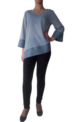 Kontes Mavi Çapraz Bluz