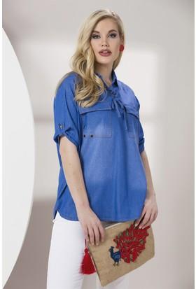 Rmg Yaka Bağcıklı Büyük Beden Gömlek Kim. Mavi