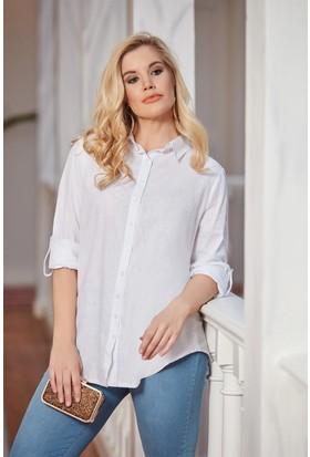 Rmg Büyük Beden Keten Gömlek Beyaz