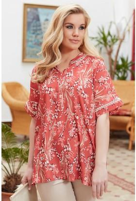 Rmg Yaka Ve Kol Detaylı Çiçek Desenli Büyük Beden Bluz Kiremit