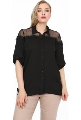 Rmg Omuz-Yaka Dantel Detaylı Büyük Beden Gömlek Siyah