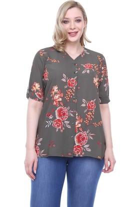 Rmg Çiçek Desenli Büyük Beden Gömlek Haki