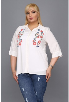 Rmg Nakış Detaylı Büyük Beden Gömlek Beyaz
