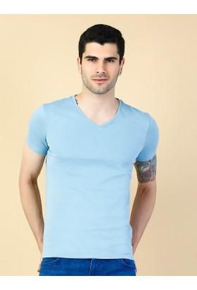 Colin's Mavi Erkek V Yaka Tshirt Kısa Kol